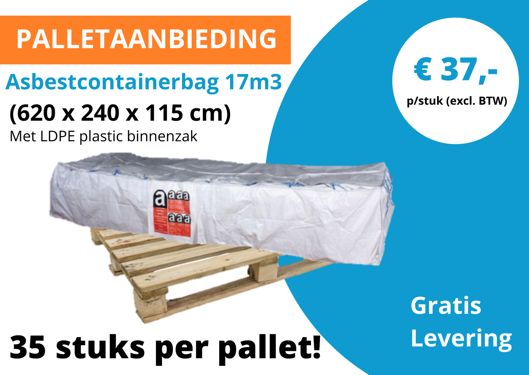 Asbestcontainerbag 17m3 palletaanbieding